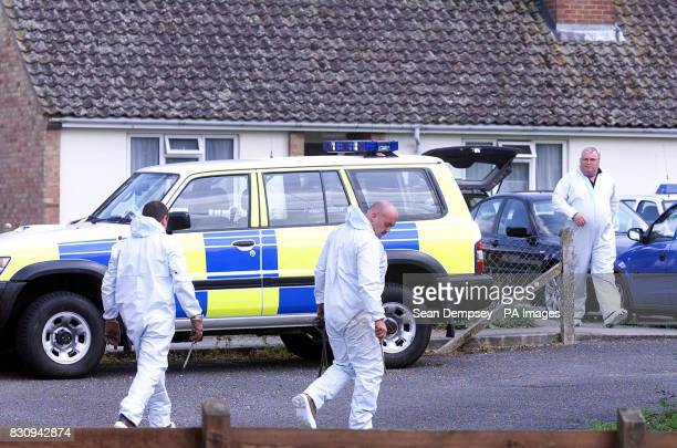 Police search the home of school caretaker Ian Huntley's grandmother at Lakenheath in Suffolk some four miles from the spot where the bodies of ten...