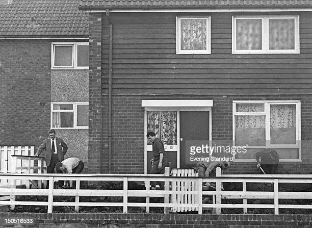 Police search the house at 16 Wardle Brook Avenue in Hattersley Manchester home of Moors murderers Ian Brady and Myra Hindley 10th December 1965 The...
