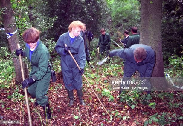 Police searching dense undergrowth on Wimbledon Common after they received fresh information into the killing of young mother Rachel Nickell