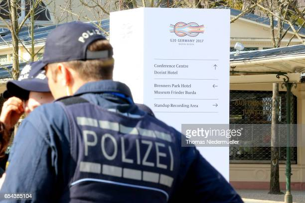 Police secure area surrounding the G20 finance ministers meeting on March 17 2017 in BadenBaden Germany The meeting is taking place ahead of the G20...