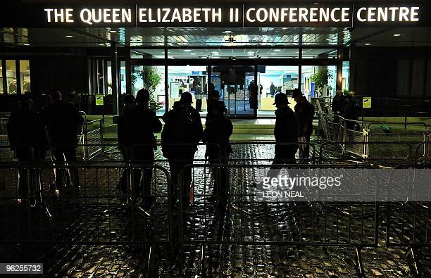 Police secure the area surrounding the QE2 centre in London prior to the arrival of former British Prime Minister Tony Blair as he prepares to give...