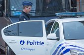 Police secure the Justitiepaleis during the Sharia4Belgium trial on September 29 2014 in Antwerpen Belgium Today starts the trial of 46 defendants...