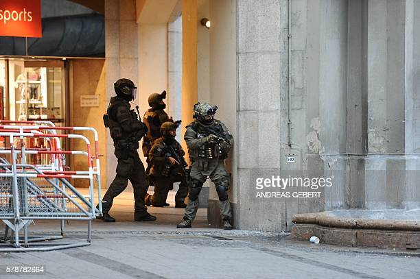 TOPSHOT Police secures the area of a subway station Karlsplatz near a shopping mall following a shooting on July 22 2016 in Munich Several people...