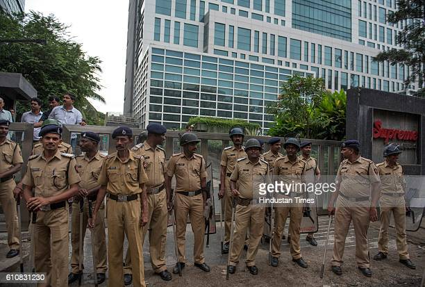 Police Security guard after Maharashtra Navnirman Sena party workers protest against Pakistan PM Nawaz Sharif and artists and Bollywood filmmaker...