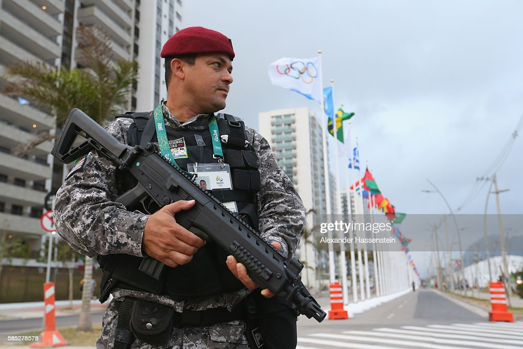 Police security officer at the Olympic Village ahead of the Rio 2016 Olympic Games on August 2 2016 in Rio de Janeiro Brazil
