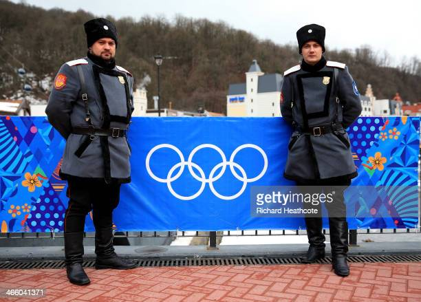 Police security patrol around the Rosa Khutor Mountain Cluster village ahead of the Sochi 2014 Winter Olympics on January 31 2014 in Rosa Khutor Sochi