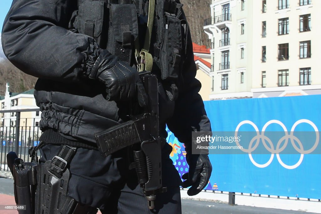 Police security patrol around the Rosa Khutor Mountain Cluster village ahead of the Sochi 2014 Winter Olympics on February 2 2014 in Sochi Russia
