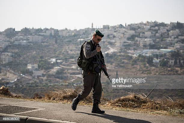Police seen at the site of the stabbing on October 17 2015 in Jerusalem Israel Since Saturday morning 3 stabbing attacks accured in Jerusalem and...