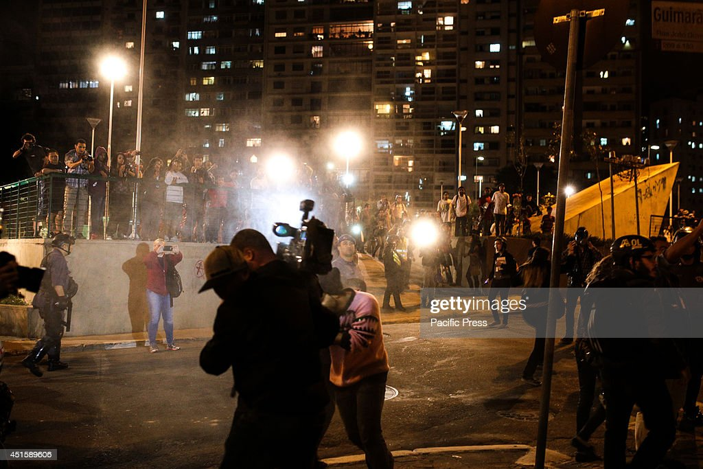 Police shoot pepper spray on demonstrators and journalists during a demonstration for the release of protesters who were arrested in previous...