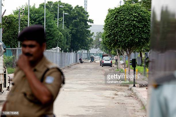 Police shut the gates to the media at the Yamuna Sports Complex home of the Archery competition that will be used during the Commonwealth Games held...