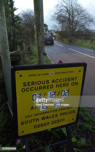 A police sign at the scene of the fatal crash in Ystradowen south Wales where a double decker bus hit a tree * Prayers were being said for Stuart...