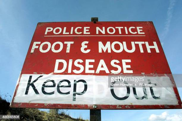 A police sign warning against access at Burnside Farm Northumberland where the current footandmouth crisis is thought to have originated Hundreds of...
