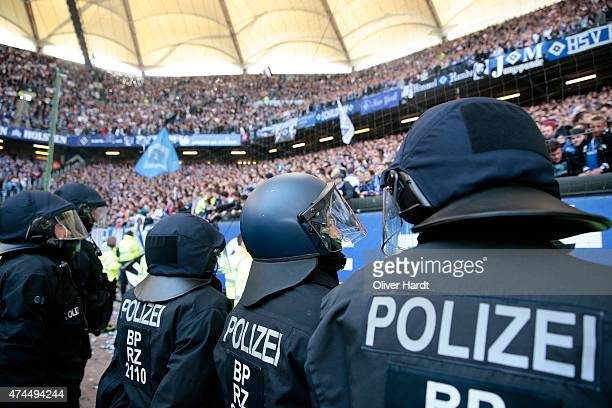 Police Staff during the First Bundesliga match between Hamburger SV and FC Schalke 04 at Imtech Arena on May 23 2015 in Hamburg Germany