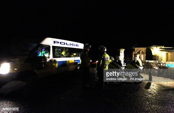 Police stand at the entrance to the Ross Priory at in the Garadhban forest in Gartocharn near Loch Lomond as an explosion in the remote forest area...