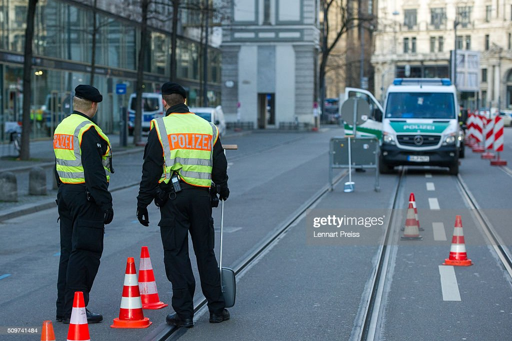 Police stand guard at the entrance of the security zone around the hotel Bayerischer Hof ahead of the 2016 Munich Security Conference at the Bayerischer Hof hotel on February 12, 2016 in Munich, Germany. The annual event brings together government representatives and security experts from across the globe and this year the conflict in Syria will be the main issue under discussion.