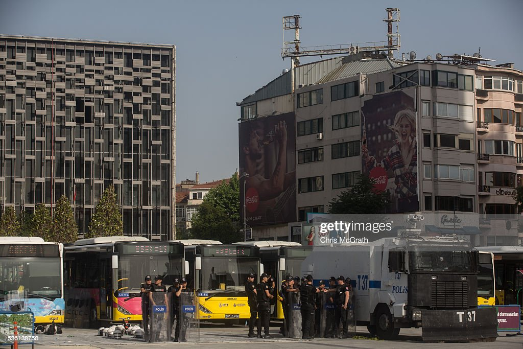 Police stand guard in front of Gezi Park on the third anniversary of the Gezi Park protests on May 31, 2016 in Istanbul, Turkey. The protests began on May 28, 2013 to contest the planned urban development of Gezi Park, however larger protests started after police evicted protesters from the park sparking weeks of civil unrest.