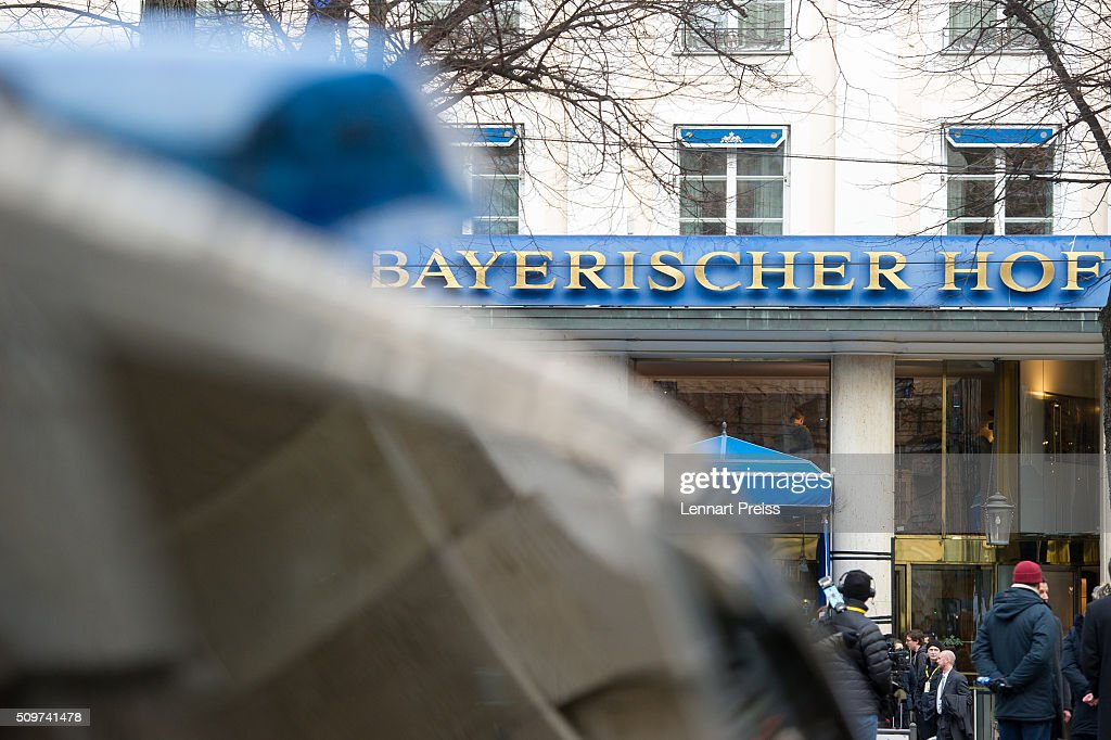 Police stand in front of the hotel Bayerischer Hof ahead of the 2016 Munich Security Conference at the Bayerischer Hof hotel on February 12, 2016 in Munich, Germany. The annual event brings together government representatives and security experts from across the globe and this year the conflict in Syria will be the main issue under discussion.