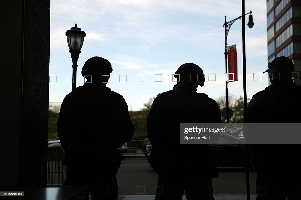 Police stand watch outside a Manhattan hotel hosting a counter-terrorism conference on April 28, 2016 in New York City. The Leadership in Counter Terrorism conference (LinCT) is a yearly gathering that draws law enforcement and security officials from around the world to discuss efforts in combating terrorism.