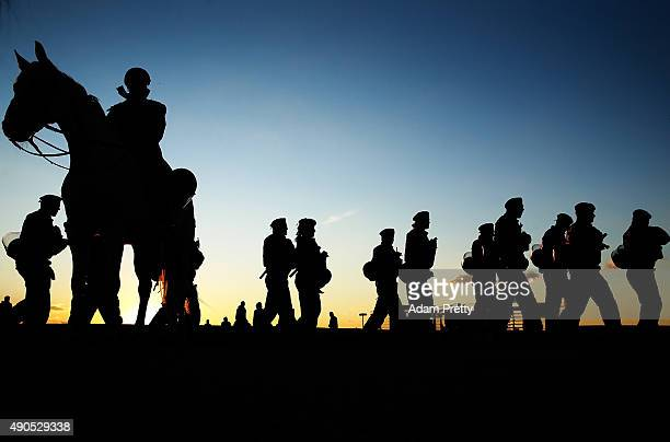 Police supervise the arrival of fans outside the Allianz Arena before the UEFA Champions League match between FC Bayern Munchen and GNK Dinamo Zagreb...
