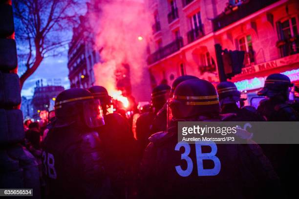 Police surround demonstrators during a protest against police violence under the aerial subway in Barbes district on February 15 2017 in Paris France...