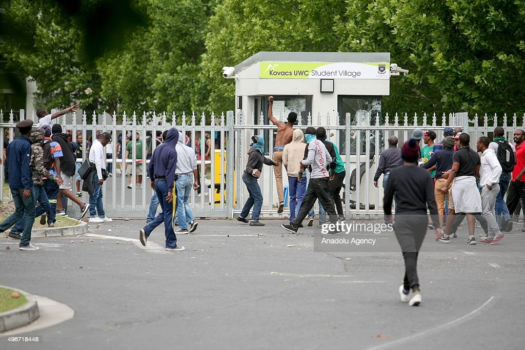 Police take security measures as the students protest against the increase of tuition fees at Western Cape Town University in Cape Town South Africa...