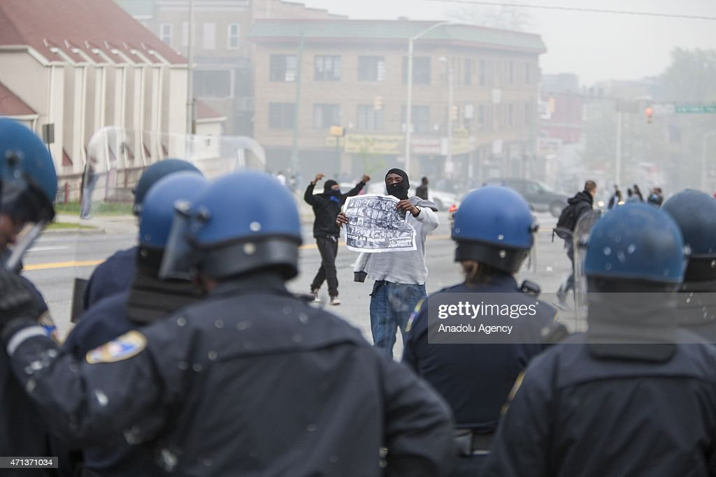 Police take security measures during a riot over the death of Freddie Gray in Baltimore Maryland USA on April 27 2015