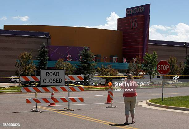 Police tape and barricades still encircle the parking lot at the Century 16 Theaters July 22 2012 in Aurora Colorado where 12 people were killed and...