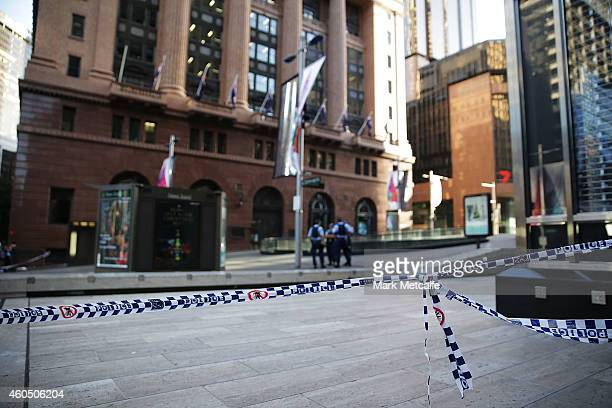 Police tape barricades off Martin Place on December 16 2014 in Sydney Australia The siege in Sydney's Lindt Cafe in Martin Place is over after 16...