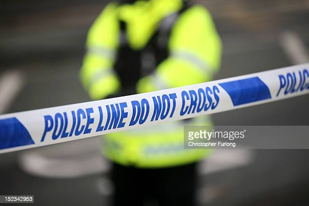 Police tape cordons off the scene of the shooting of WPC's Nicola Hughes and Fiona Bone in Hattersley on September 19 2012 in Manchester England...