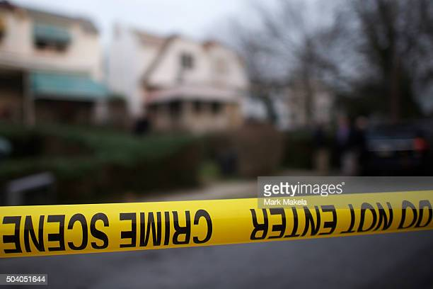 Police tape is placed in front of the home of police officer shooting suspect Edward Archer who allegedly shot 13 times at Philadelphia Police...