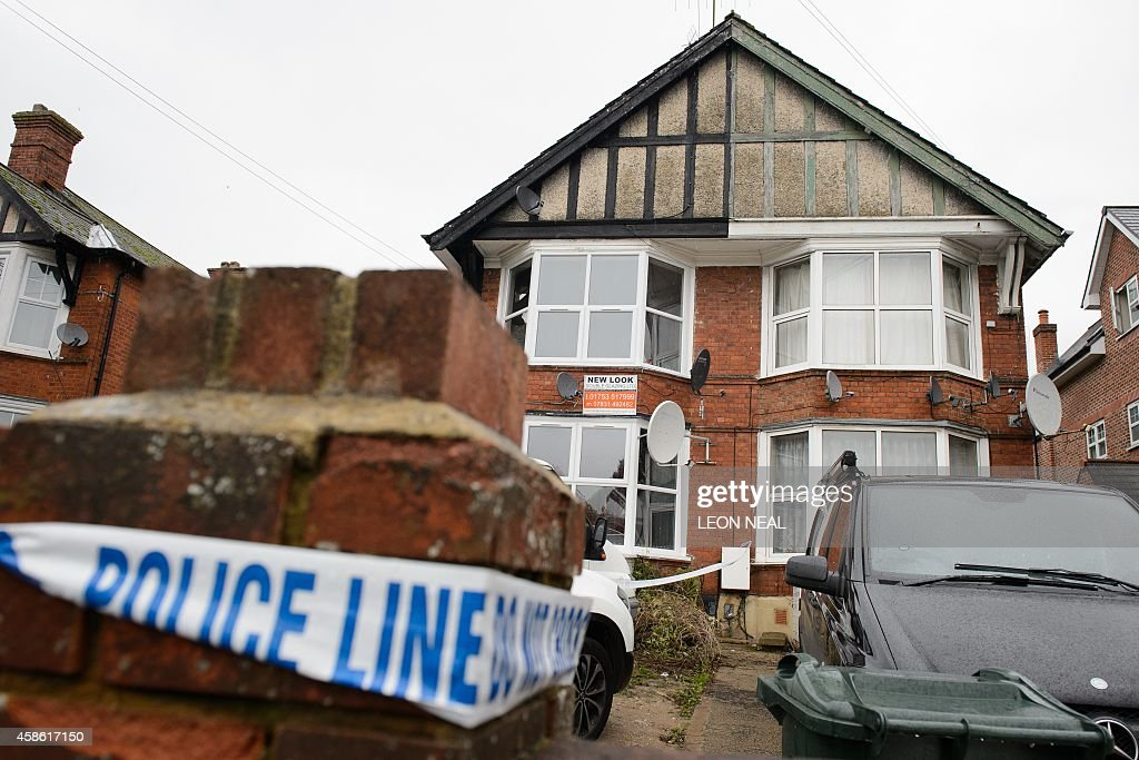 Police tape marks off a residential address in High Wycombe Buckinghamshire north west of London on November 8 in connection with the arrest of four...