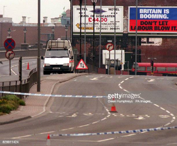 Police tape seals off the road into Doncaster today following security alerts this morning SEE PA STORY POLICE Alert Photo by Owen Humpherys/PA
