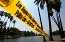 Police tape streches between palms near the location where 4yearold Jessica Cortez is believed to have disappeared on the previous evening at the...