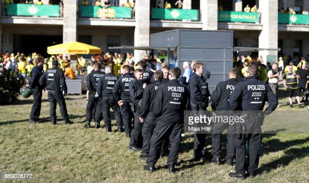 A police team is seen seen prior to the DFB Cup Final 2017 between Eintracht Frankfurt and Borussia Dortmund at Olympiastadion on May 27 2017 in...