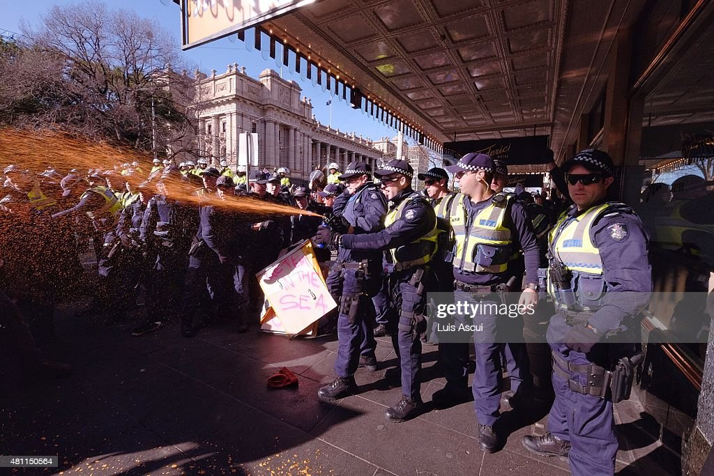 Police use pepper spray on antiReclaim Australia protesters on July 18 2015 in Melbourne Australia 'Reclaim Australia' grassroots rallies are being...