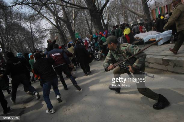 Police used batons tear smoke shells against the Saakshar Bharat Mission Employees who were on streets to demand their regularization on Thursday...