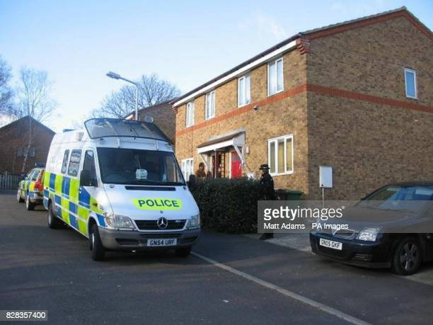 A police van and officers outside a house in Lambersart Close near Southborough in Kent Sunday February 26 as the search for the Securitas depot...