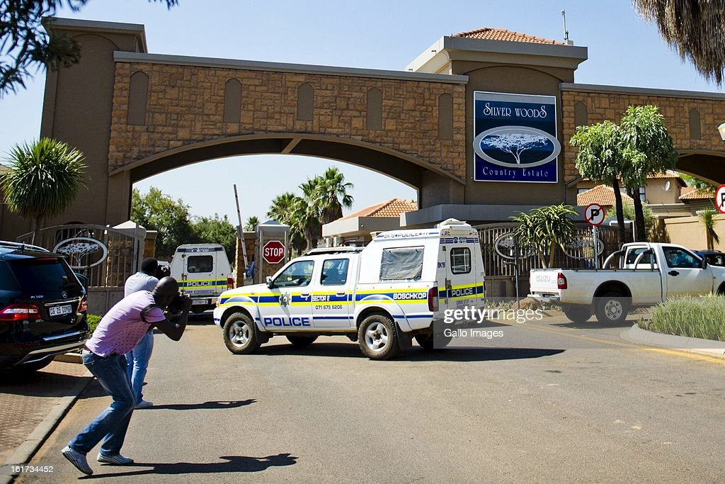 A police van at Oscar Pistorius's residential area on February 14, 2013 in Pretoria, South Africa. Pistorius was arrested following a shooting at his residence; he was taken to Boschkop Police Station.
