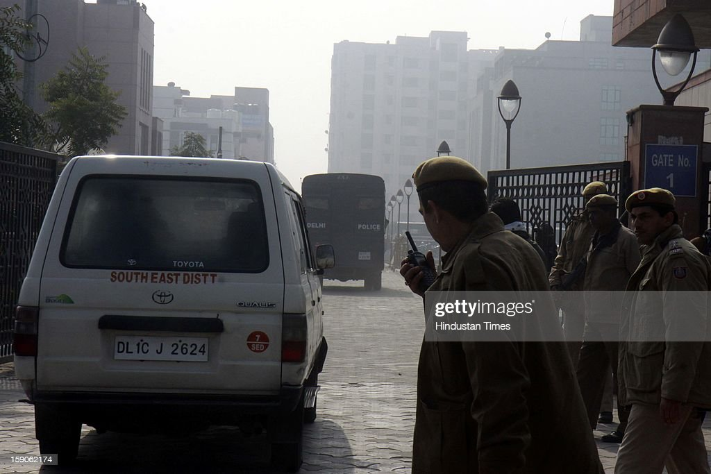 Police van believed to carrying the five men accused in a gang rape as they arrive at the district court on January 7, 2013 in New Delhi, India. The men are accused of a gang rape of a 23 year old girl who later died due to injuries. The incident has caused outrage across India, sparking protests and demands for tough new rape laws and led to setting of special fast track courts exclusively for offences against women.