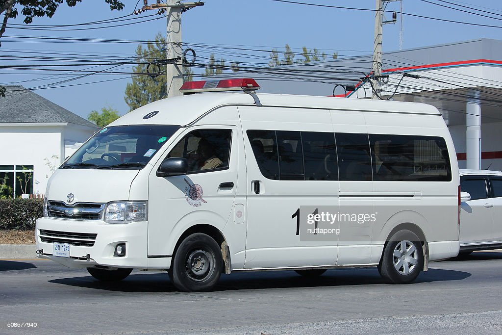 Police van car of Sansai Police Station. : Bildbanksbilder