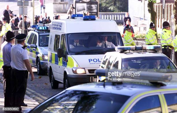 A police van carrying Ian Huntley arrives at Peterborough Magistrates Courts where he is to appear for the first time charged with the murders of...
