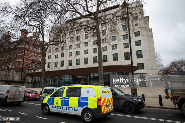 A police van drives past the Curtis Green Building the new home of the Metropolitan Police on February 22 2017 in London England Cressida Dick is to...