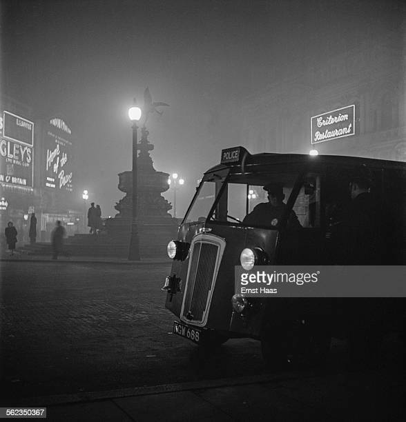 A police van in Piccadilly Circus London circa 1953