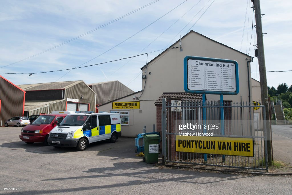 A police van is seen parked at Pontyclun Van Hire at the East Side Cambrian Industrial Estate on June 19, 2017 in Pontyclun, Wales. A van that appears to have been rented from Pontyclun Van Hire ploughed into pedestrians near Finsbury Park Mosque on Severn Sisters Road, North London, at around 12.20 this morning. Police have reported that one man was killed and nine people were injured. A 47-year-old man has been arrested. Prime Minister Theresa May has said police are treating it as a potential terrorist incident.