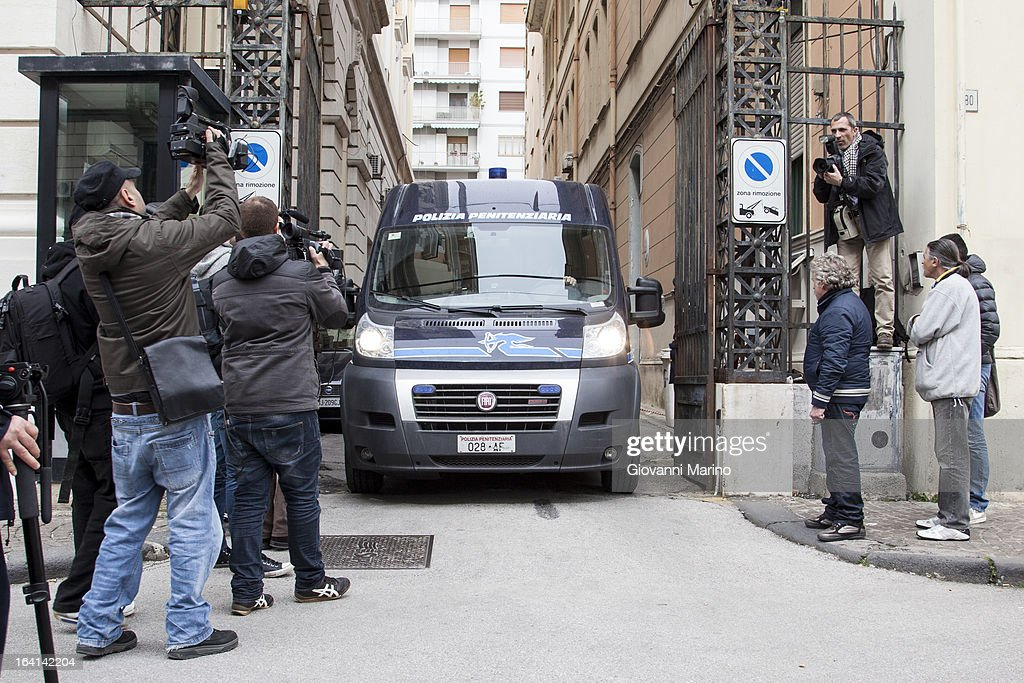 Police vans at Salerno court house during appeal hearing over Daniele Restivo conviction of the murder of Elisa Claps on March 20, 2013 in Salerno, Italy. Italian national Restivo is appealing against the conviction in his absence by an Italian court, whilst serving a life sentence in the UK for the murder of Heather Barnett in 2002. The body of 16-year-old Claps was found hidden in the roof of Santa Trinita Church, Potenza on March 18, 2010 following her disappearance in 1993.