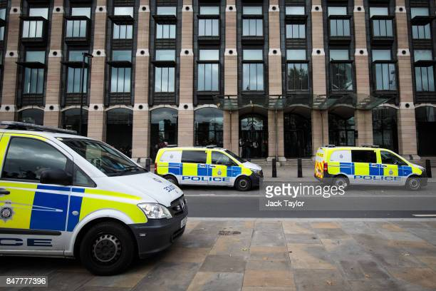 Police vans sit parked outside Portcullis House in Westminster on September 16 2017 in London England An 18yearold man has been arrested in Dover in...