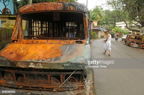 Police vehicle burnt during the communal clashes which happened a month ago on August 3 2017 in Basirhat India The teens social media post triggered...