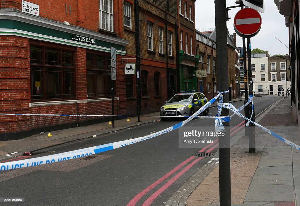 A police vehicle is parked inside a cordon off section of Greenland street as a murder investigation is underway in Camden on May 29, 2016 in London, England. Reportedly a stabbing took place in the area leaving one man dead after being taken to the hospital.