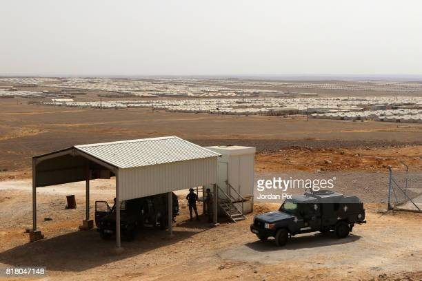 Police vehicles guard at the Azraq camp for Syrian refugees the newest camp in Jordan that hosts 54000 refugees in northeastern desert in Azraq...