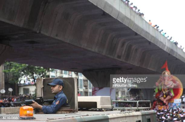 Police vigil at lalabaug on Ganpati immersion day in Mumbai